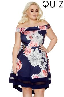 Quiz Curve Floral Bardot Dress