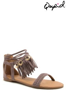 Qupid Flat Sandal With Fringe Detail