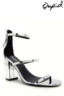 Qupid Double Strap Block Heel Sandals