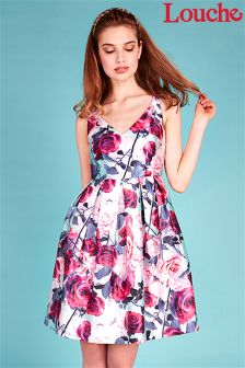 Louche Rose Print Prom Dress