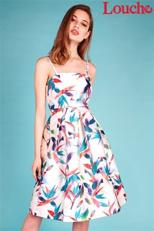 Louche Floral Print Pleated Prom Dress