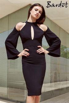 Bardot Cold Shoulder Drape Sleeve Dress