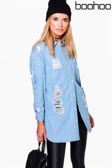 Boohoo Oversized Ultra Distressed Denim Shirt