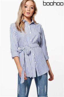 Boohoo Tie Striped Shirt