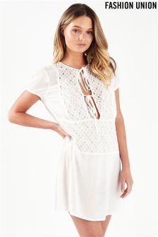 Fashion Union Sheer Lace Shirt Cover Up