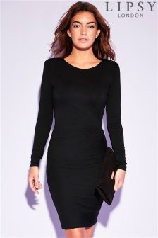 Lipsy Shoulder Pad Long Sleeve Knot Dress