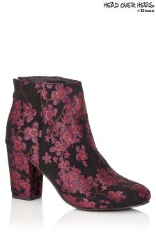 Head Over Heels Block Heel Printed Boots