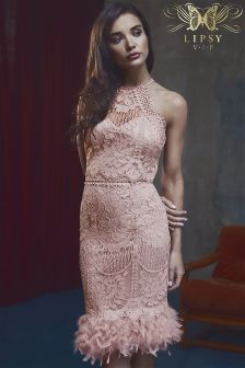Lipsy VIP Feather Hem Lace Midi Dress