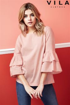 Vila 3/4 Sleeve Ruffle Top