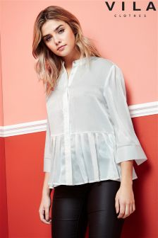 Vila Pleated Button Down Shirt