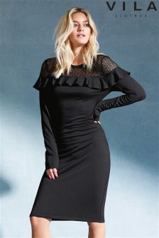 Vila Lace Detailed Stretch Bodycon Dress
