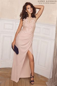 Lipsy Love Michelle Keegan Petite Lace Appliqué Maxi Dress