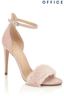 Office Faux Fur Trim Sandals