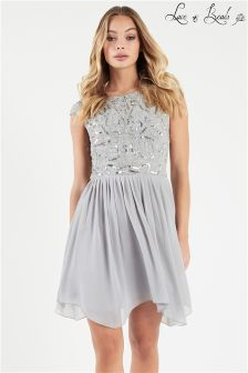 Lace & Beads Embellished Skater Dress