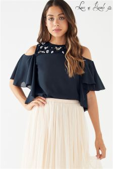 Lace & Beads Embellished Cold Shoulder Top