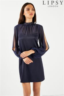 Lipsy Embellished Choker Neck Long Sleeve Shift Dress
