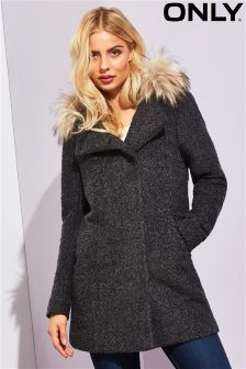 Only Faux Fur Trimmed Woolen Coat
