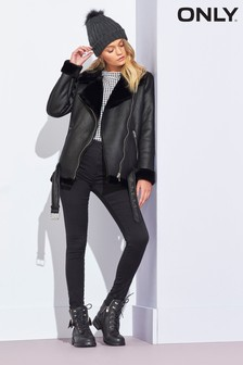 Only Faux Fur Biker Jacket