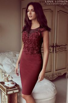Lipsy Love Michelle Keegan Red Lace Appliqué Bodycon Dress