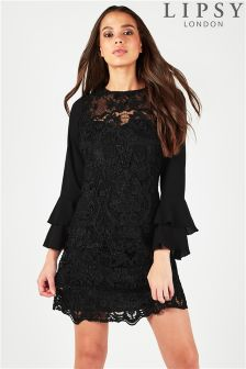 Lipsy All Over Lace Ruffle Sleeve Shift Dress