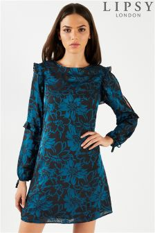 Lipsy Printed Long Sleeve Shift Dress