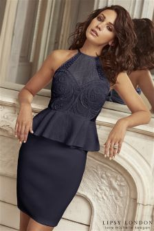 Lipsy Love Michelle Keegan Cornelli Detail Peplum Bodycon Dress