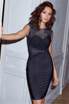 Lipsy Love Michelle Keegan Navy Ruched Sequin Bodycon Dress