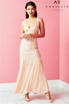 Angeleye Plunge Neck Embellished Maxi Dress