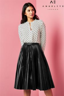 Angeleye Pleated Midi Skirt