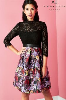 Angeleye Black Lace Top And Floral Skirt
