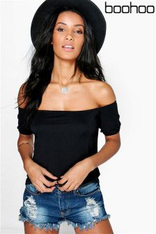Boohoo Off Shoulder Ruche Sleeve Top