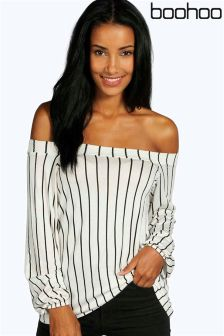 Boohoo Stripe Off The Shoulder Swing Top