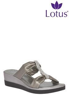 Lotus Wedge Glitter Detail Sandal