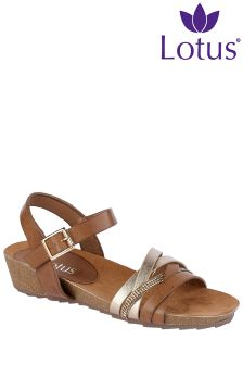 Lotus Wedge Strappy Sandals