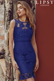 Lipsy Lace Overlay Built Up Frill Hem Dress