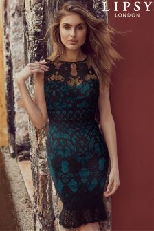 Lipsy Black Lace Overlay Built Up Frill Hem Dress
