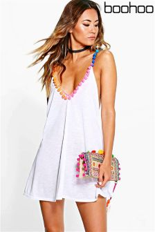 Boohoo Pom Pom Beach Dress