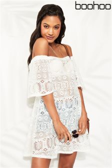 Boohoo Crochet Bardot Beach Dress