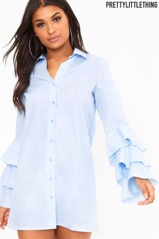 PrettyLittleThing Triple Frill Sleeve Shirt Dress