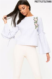 PrettyLittleThing Stripe Appliqué Frill Sleeve Top