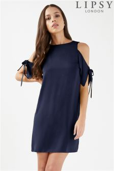 Lipsy Cold Shoulder Tie Sleeve Dress