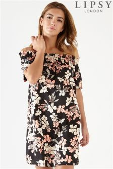 Lipsy Floral Print Shirring Bardot Dress