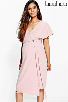 Boohoo Maternity Wrap Front Midi Dress
