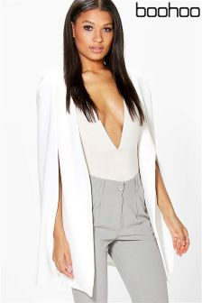 Boohoo Longline Tailored Crepe Cape Jacket