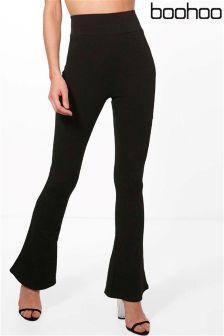 Boohoo Highwaist Crepe Skinny Flare Trousers