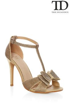 True Decadence Glitter Bow Sandals