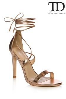 True Decadence Metallic Tie Ankle Sandals
