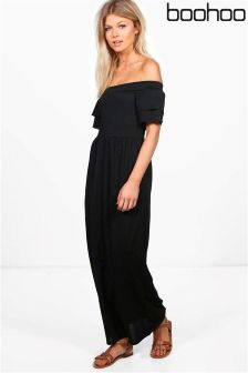 Boohoo Petite Off The Shoulder Ruffle Sleeve Maxi Dress