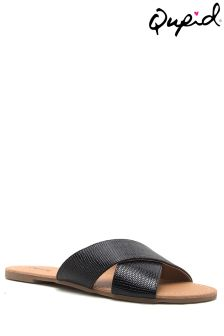Qupid Cross Strap Flat Mules
