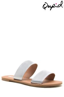 Qupid Double Strap Flat Mules